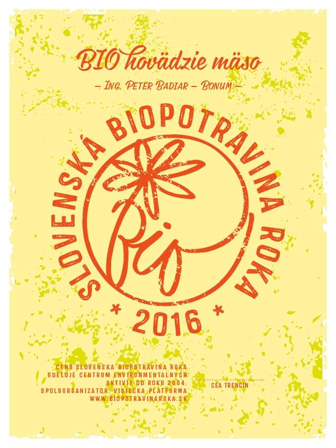 Cena biopotravina roka 2016 - organizátor súťaže biopotravina roka